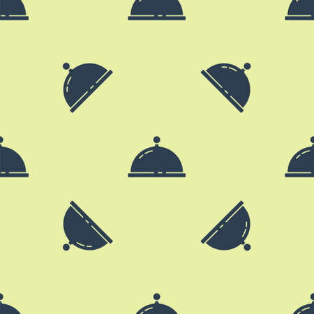 Blue Covered with a tray of food icon isolated seamless pattern on yellow background. Tray and lid. Restaurant cloche with lid. Kitchenware symbol. Vector