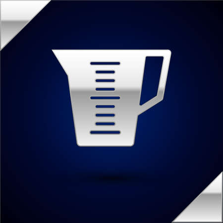 Silver Measuring cup to measure dry and liquid food icon isolated on dark blue background. Plastic graduated beaker with handle. Vector