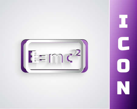 Paper cut Math system of equation solution icon isolated on grey background. E equals mc squared equation on computer screen. Paper art style. Vector Ilustración de vector