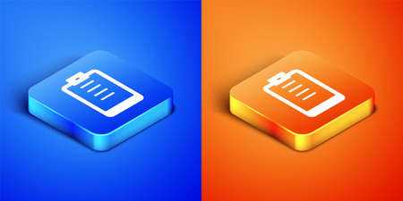 Isometric Clipboard with checklist icon isolated on blue and orange background. Control list symbol. Survey poll or questionnaire feedback form. Square button. Vector Stock Illustratie