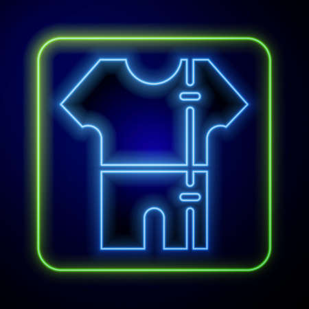 Glowing neon Sport track suit icon isolated on blue background. Vector Illusztráció