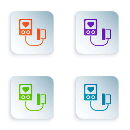 Color Blood pressure icon isolated on white background. Set colorful icons in square buttons. Vector