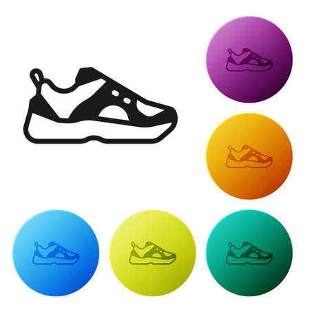 Black Fitness sneakers shoes for training, running icon isolated on white background. Sport shoes. Set icons in color circle buttons. Vector