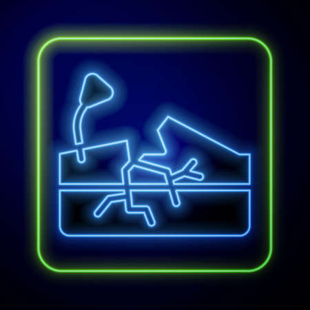 Glowing neon Earthquake icon isolated on blue background. Vector