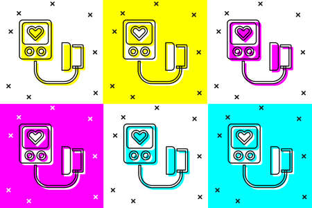 Set Blood pressure icon isolated on color background. Vector