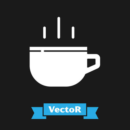 White Coffee cup icon isolated on black background. Tea cup. Hot drink coffee. Vector Ilustração