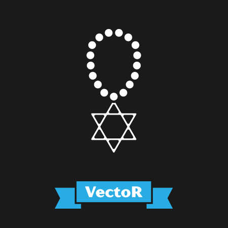 White Star of David necklace on chain icon isolated on black background. Jewish religion symbol. Symbol of Israel. Jewellery and accessory. Vector Stock Illustratie