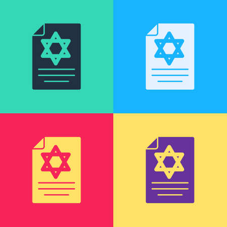 Pop art Torah scroll icon isolated on color background. Jewish Torah in expanded form. Star of David symbol. Old parchment scroll. Vector
