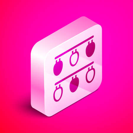 Isometric Christmas lights icon isolated on pink background. Merry Christmas and Happy New Year. Silver square button. Vector Ilustracja