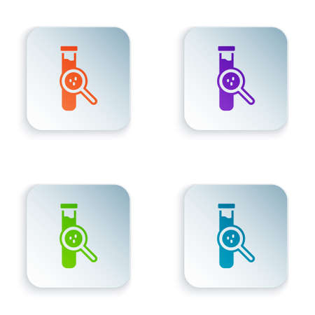Color Test tube and flask chemical laboratory test icon isolated on white background. Laboratory glassware sign. Set colorful icons in square buttons. Vector Stock Illustratie