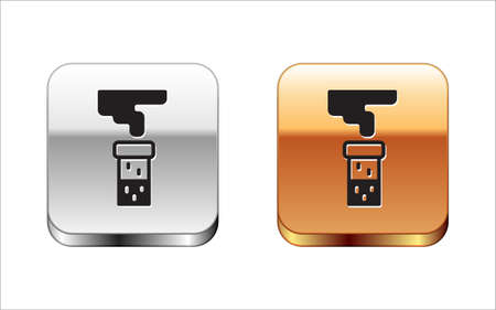 Black Test tube and flask chemical laboratory test icon isolated on white background. Laboratory glassware sign. Silver-gold square button. Vector