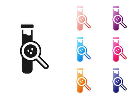 Black Test tube and flask chemical laboratory test icon isolated on white background. Laboratory glassware sign. Set icons colorful. Vector