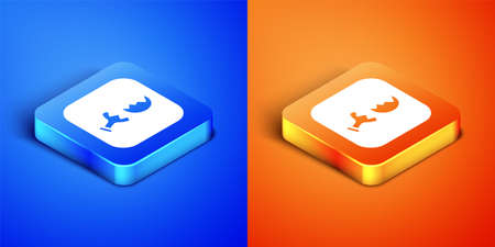 Isometric Broken test tube and flask chemical laboratory test icon isolated on blue and orange background. Laboratory glassware sign. Square button. Vector