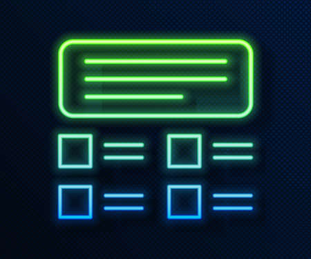 Glowing neon line Online quiz, test, survey or checklist icon isolated on blue background. Exam list. E-education concept. Vector Illustration Stock Illustratie