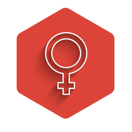 White line Female gender symbol icon isolated with long shadow. Venus symbol. The symbol for a female organism or woman. Red hexagon button. Vector 矢量图像