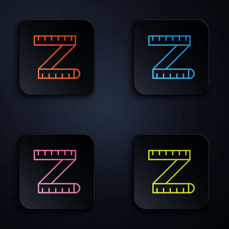 Color neon line Tape measure icon isolated on black background. Measuring tape. Set icons in square buttons. Vector 矢量图像