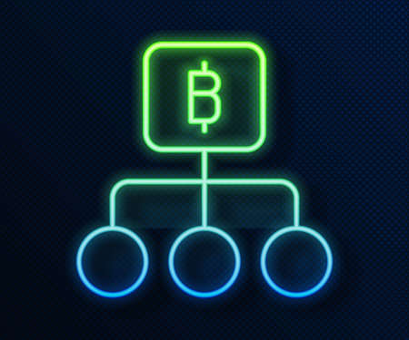 Glowing neon line Blockchain technology Bitcoin icon isolated on blue background. Abstract geometric block chain network technology business. Vector Stock Illustratie