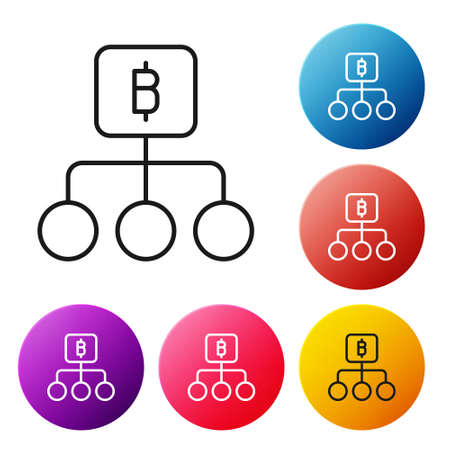 Black line Blockchain technology Bitcoin icon isolated on white background. Abstract geometric block chain network technology business. Set icons colorful circle buttons. Vector