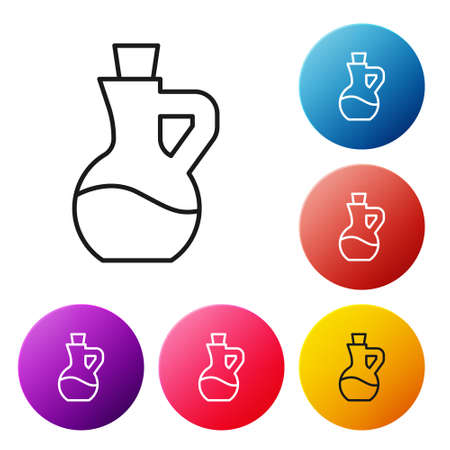 Black line Bottle of olive oil icon isolated on white background. Jug with olive oil icon. Set icons colorful circle buttons. Vector
