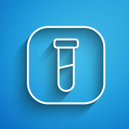 White line Test tube and flask chemical laboratory test icon isolated on blue background. Laboratory glassware sign. Long shadow. Vector Stock Illustratie