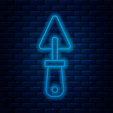 Glowing neon line Trowel icon isolated on brick wall background. Vector