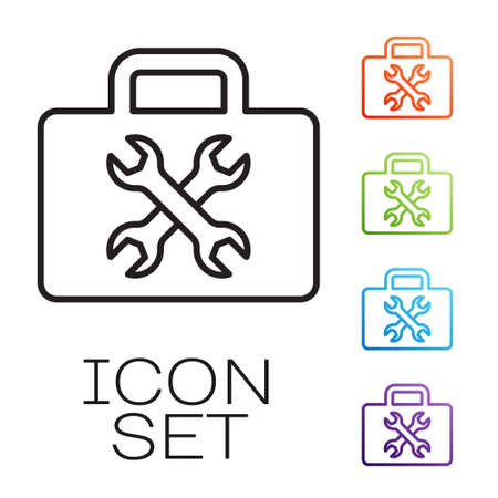 Black line Toolbox icon isolated on white background. Tool box sign. Set icons colorful. Vector