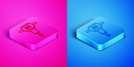 Isometric line Construction jackhammer icon isolated on pink and blue background. Square button. Vector