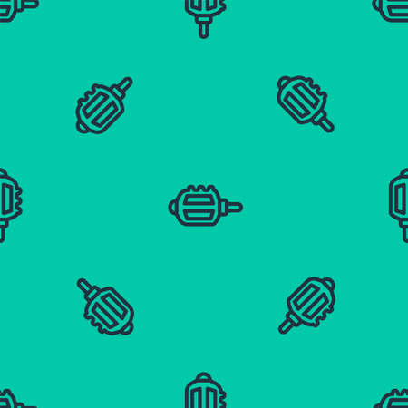 Blue line Bicycle pedal icon isolated seamless pattern on green background. Vector Stock Illustratie