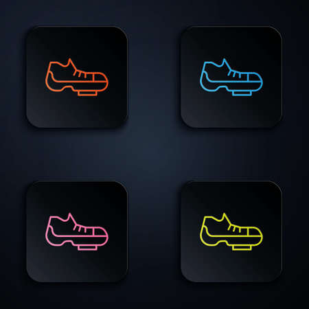 Color neon line Triathlon cycling shoes icon isolated on black background. Sport shoes, bicycle shoes. Set icons in square buttons. Vector