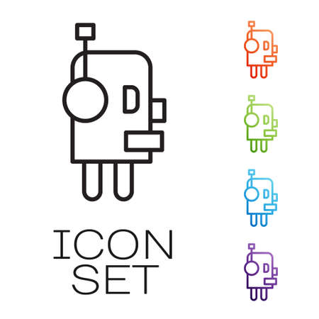 Black line Robot icon isolated on white background. Artificial intelligence, machine learning, cloud computing. Set icons colorful. Vector