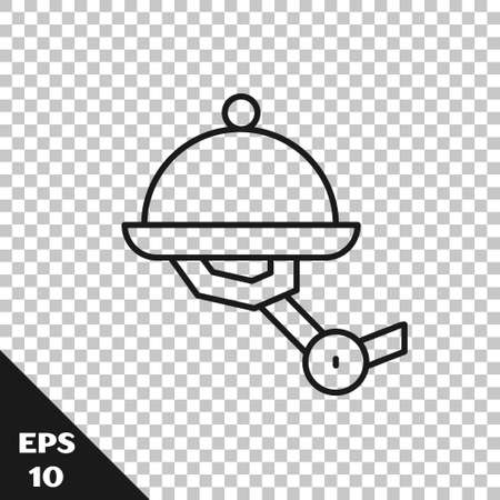 Black line Waiter robot with covered plate icon isolated on transparent background. Artificial intelligence, machine learning, cloud computing. Vector