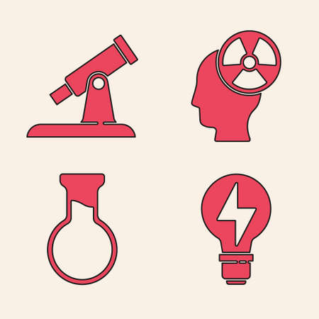 Set Light bulb with lightning, Telescope, Head and radiation symbol and Test tube and flask icon. Vector