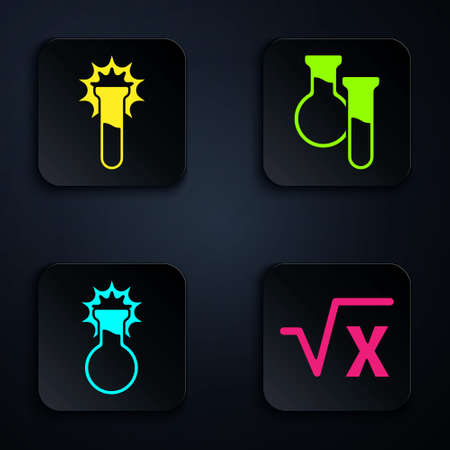 Set Square root of x glyph, Test tube and flask, Test tube and flask and Test tube and flask. Black square button. Vector