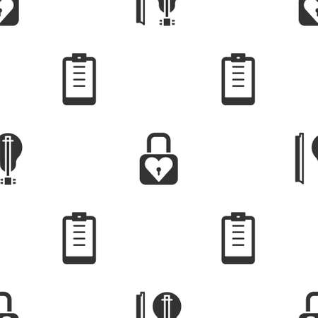 Set Violin, Lock and heart and Clipboard with checklist on seamless pattern. Vector