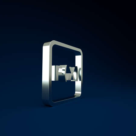 Silver Function mathematical symbol icon isolated on blue background. Minimalism concept. 3d illustration 3D render
