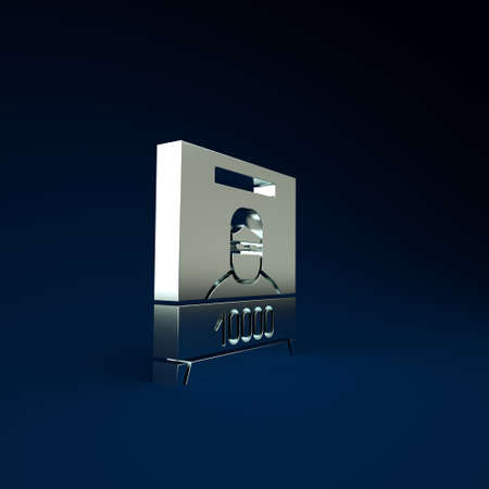 Silver Wanted poster icon isolated on blue background. Reward money. Dead or alive crime outlaw. Minimalism concept. 3d illustration 3D render