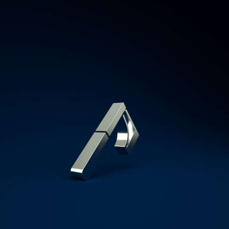 Silver Wooden axe icon isolated on blue background. Lumberjack axe. Minimalism concept. 3d illustration 3D render Фото со стока