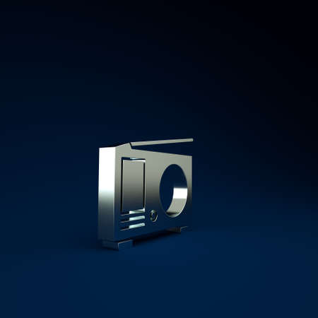 Silver Radio with antenna icon isolated on blue background. Minimalism concept. 3d illustration 3D render