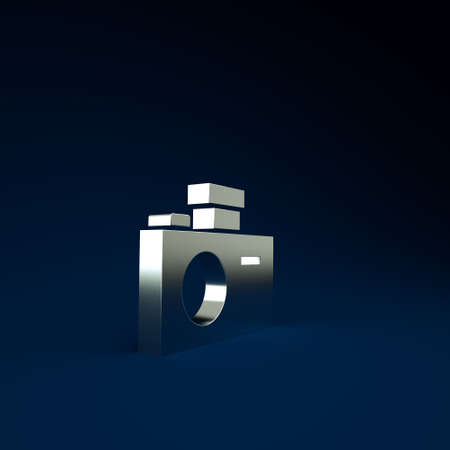 Silver Photo camera icon isolated on blue background. Foto camera icon. Minimalism concept. 3d illustration 3D render