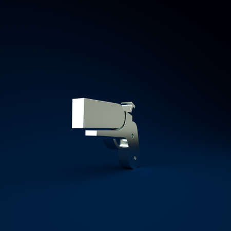 Silver Flare gun pistol signal sos icon isolated on blue background. Emergency fire shoot target smoke. Orange 911 launcher. Minimalism concept. 3d illustration 3D render Фото со стока