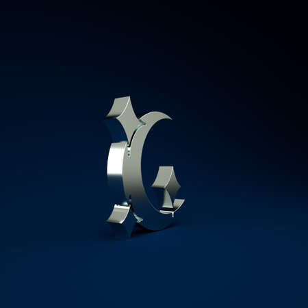 Silver Moon and stars icon isolated on blue background. Minimalism concept. 3d illustration 3D render