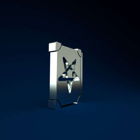 Silver Ancient magic book with alchemy recipes and mystic spells and enchantments icon isolated on blue background. Minimalism concept. 3d illustration 3D render