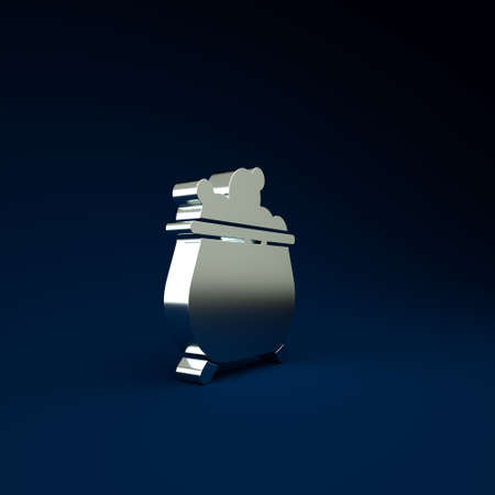 Silver Witch cauldron icon isolated on blue background. Happy Halloween party. Minimalism concept. 3d illustration 3D render