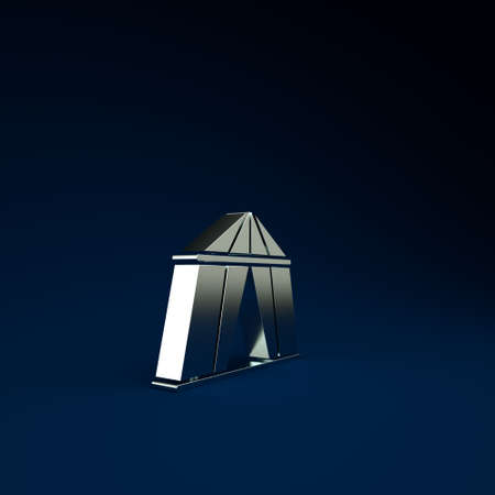 Silver Circus tent icon isolated on blue background. Carnival camping tent. Amusement park. Minimalism concept. 3d illustration 3D render