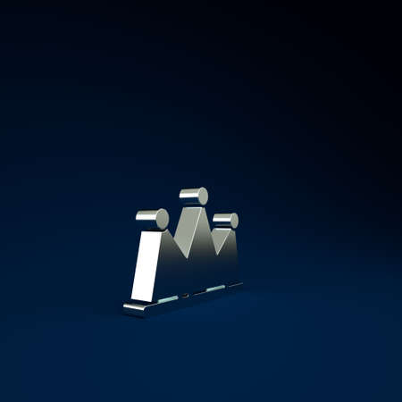 Silver Crown icon isolated on blue background. Minimalism concept. 3d illustration 3D render