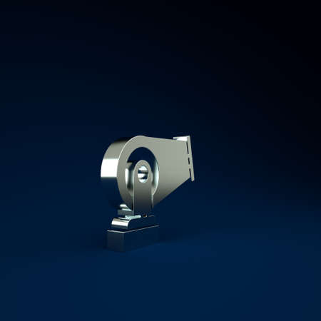 Silver Cannon icon isolated on blue background. Minimalism concept. 3d illustration 3D render Фото со стока