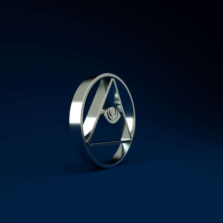 Silver Masons symbol All-seeing eye of God icon isolated on blue background. The eye of Providence in the triangle. Minimalism concept. 3d illustration 3D render Фото со стока
