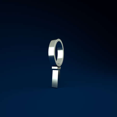 Silver Magic hand mirror icon isolated on blue background. Minimalism concept. 3d illustration 3D render Фото со стока