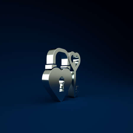 Silver Castle lock in the shape of a heart and key in heart shape icon isolated on blue background. Love symbol and keyhole sign. Minimalism concept. 3d illustration 3D render 版權商用圖片