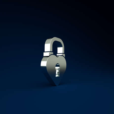 Silver Castle lock in the shape of a heart icon isolated on blue background. Love symbol and keyhole sign. 8 March. Happy Women Day. Minimalism concept. 3d illustration 3D render